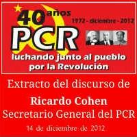 Acto 40º Aniversario - dic. 2012 // Extracto del discurso de nuestro Sec. Gral. Ricardo Cohen.