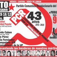 Afiche del acto 43° aniversario del PCR
