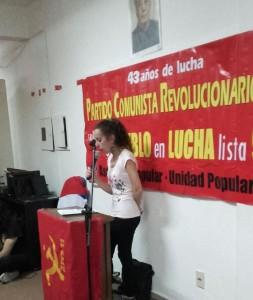 Intervención de Marcela por la JCR