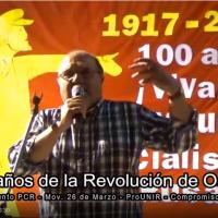 Intervención de Ricardo Cohen, Sec. General del PCR en el acto 100° aniv. de la Revolución Socialista Rusa